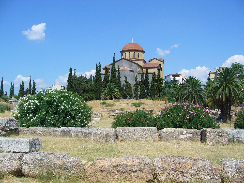 Greece, Church, Garden, Catholic, Flowers, Summer