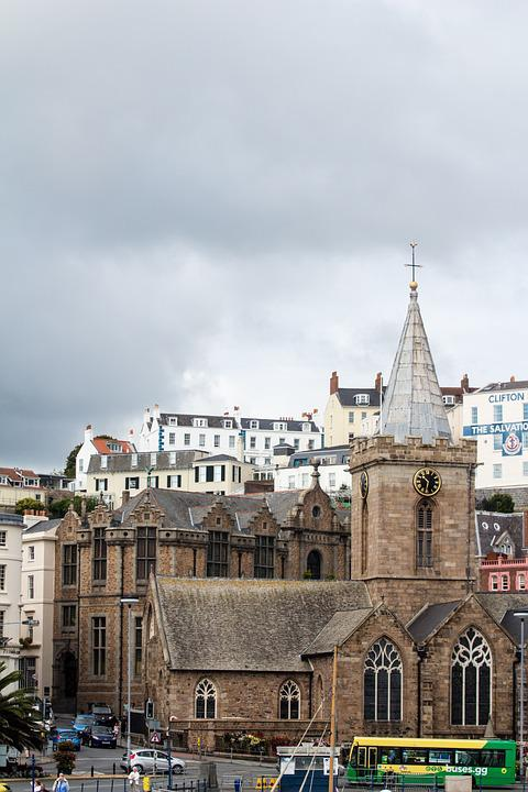 Guernsey, Church, Clouds, Overcast, Architecture
