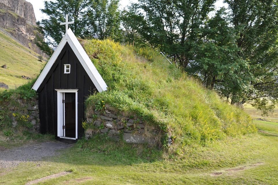 Torfhaus, Iceland, Grass Roof, Hut, Building, Church