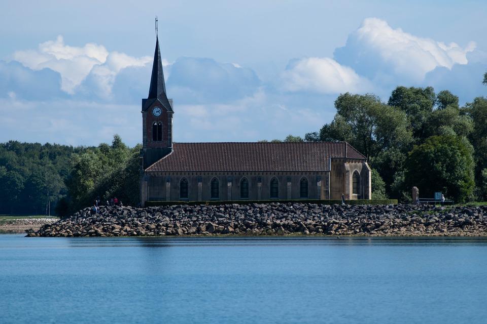 Church, Lake, Water, Nature