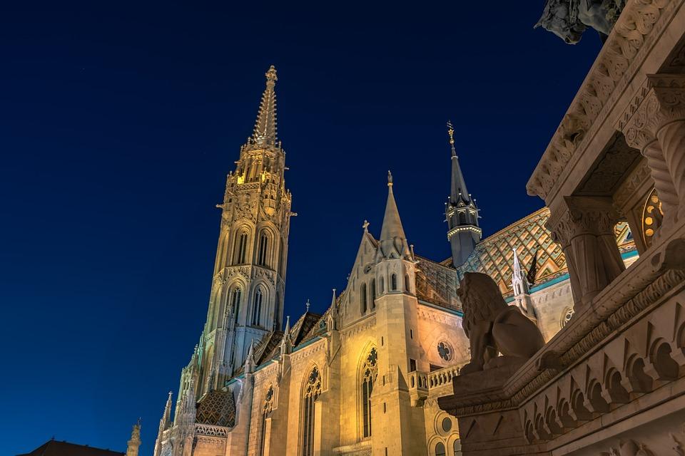 Matthias Church, Church, Night, Lights, Tower, Steeple
