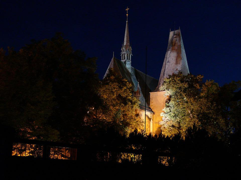 Church, Tower, Night, Famous, Old, Historic, Medieval