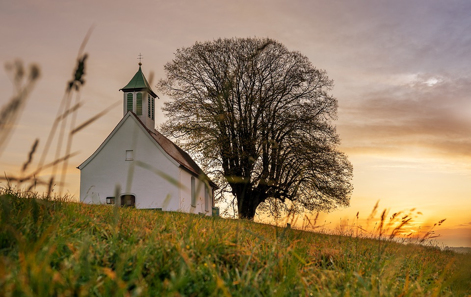 Church, Sunset, Nature, Panorama, Landscape