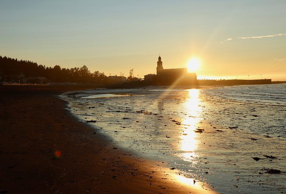 Sun, Twilight, Church, Sky, Nature, Beach, Ocean, Sea