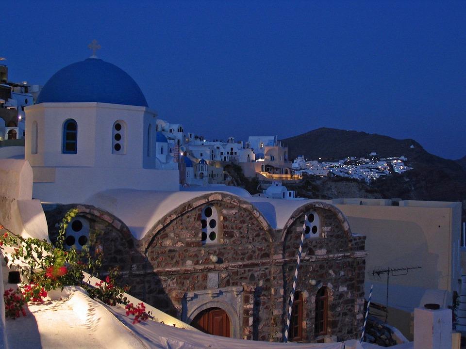 Santorini, Oia, Night, Church, Greece