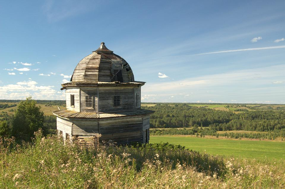 Church, Chapel, Wooden, Old, Dome, Landscape, Summer