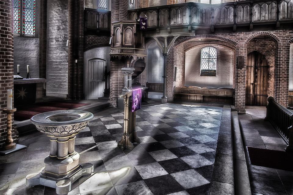 Church, Altar, Baptismal Font, Pulpit, Ray Of Light