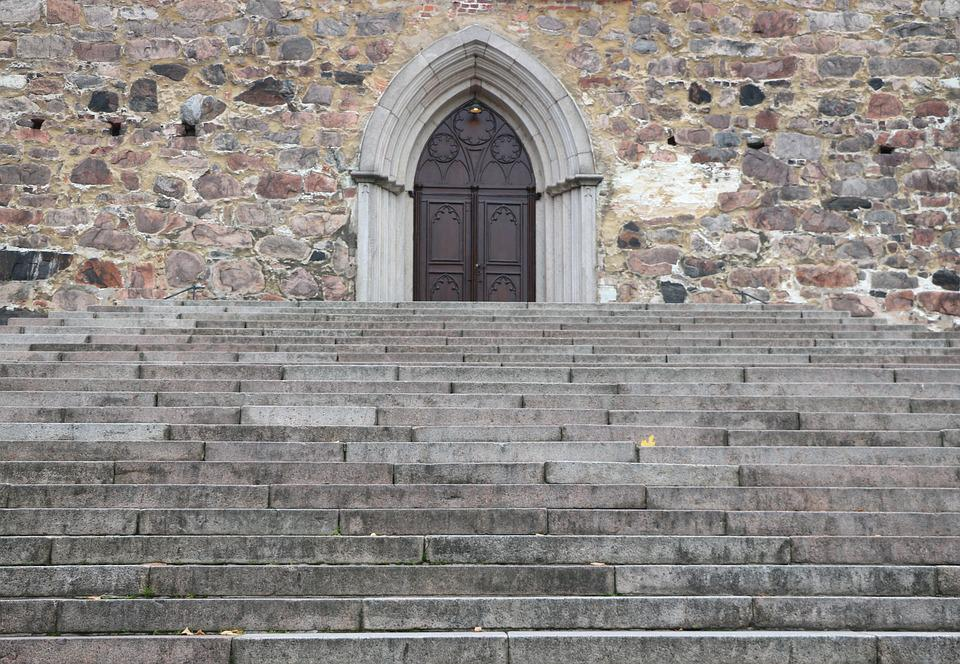 Stairs, Church, Old, Door, Architecture, Religion