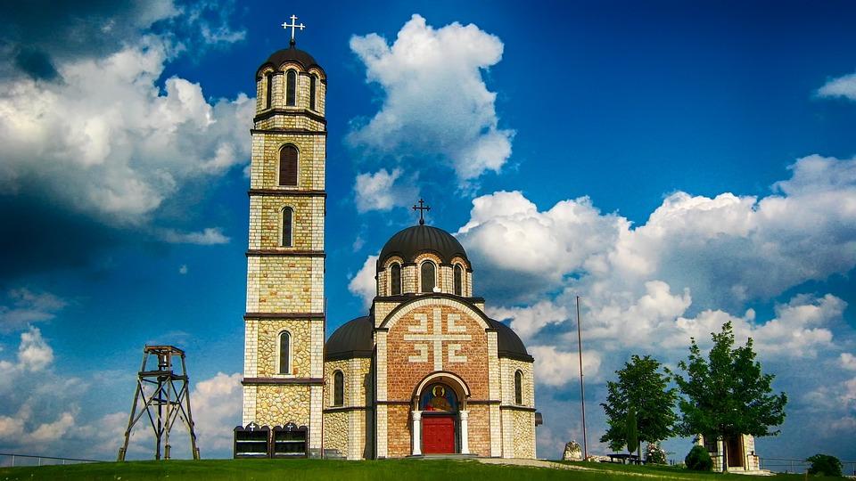 Serbia, Landscape, Church, Faith, Religion, Building