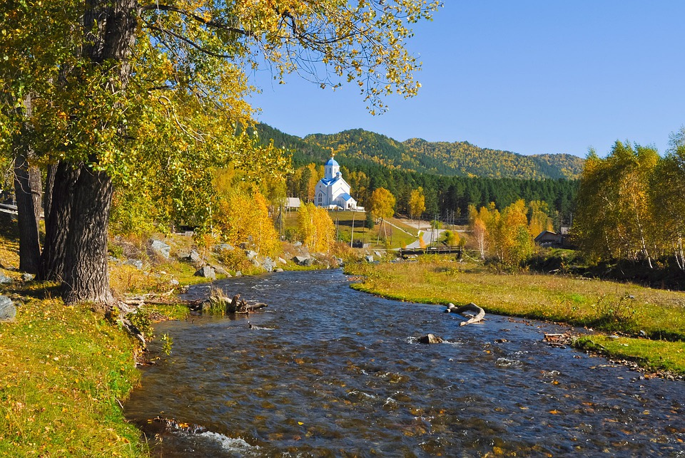 Church, Orthodox, Forest, Autumn, River, Landscape