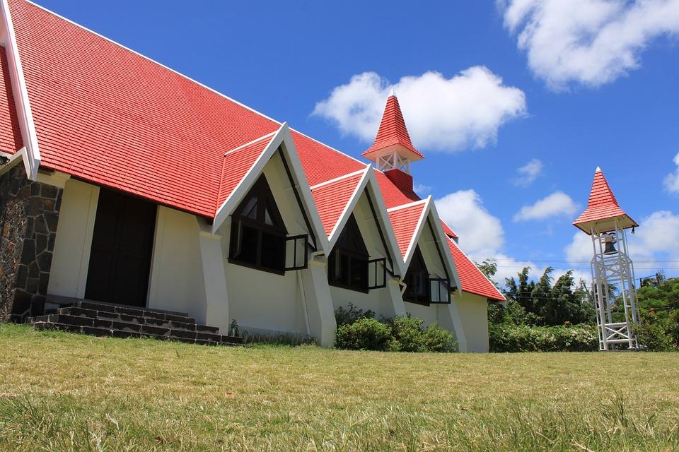 Cap Malheureux, Church, Red, Roof, Mauritius, Maurice