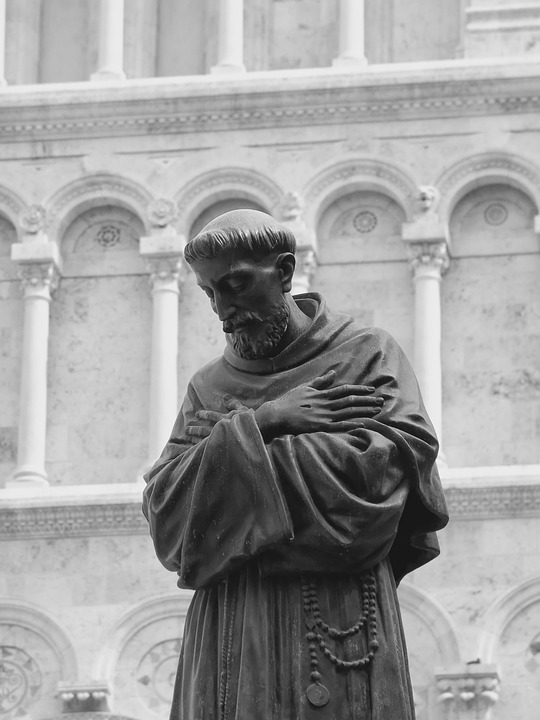 Monk, Sculpture, Statue, Italy, Church