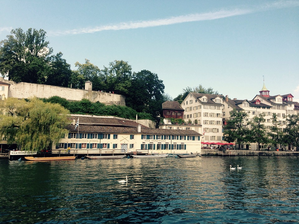 Zurich, Limmath, River, Lindenhof, Church, Sky