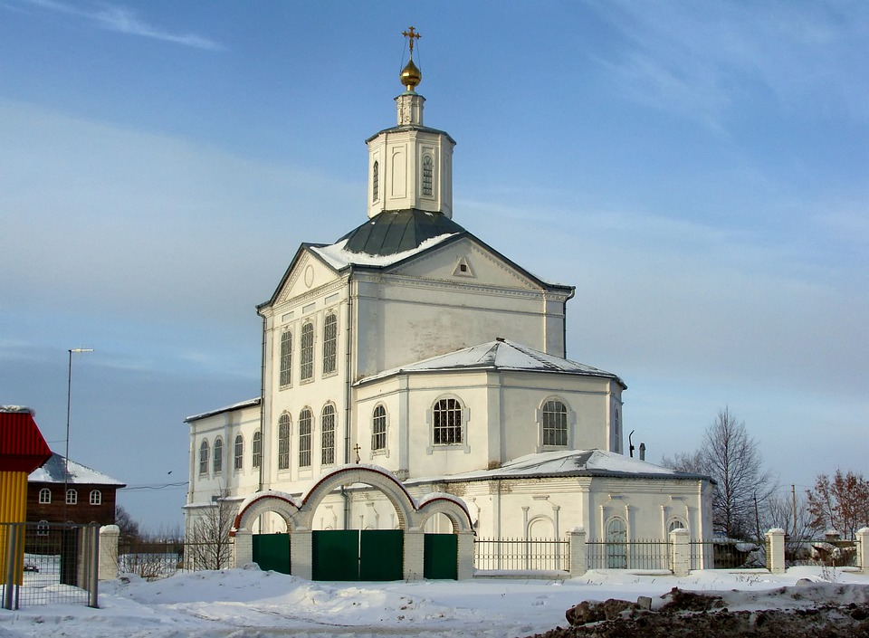 Russia, Church, Architecture, Snow, Winter, Sky, Clouds