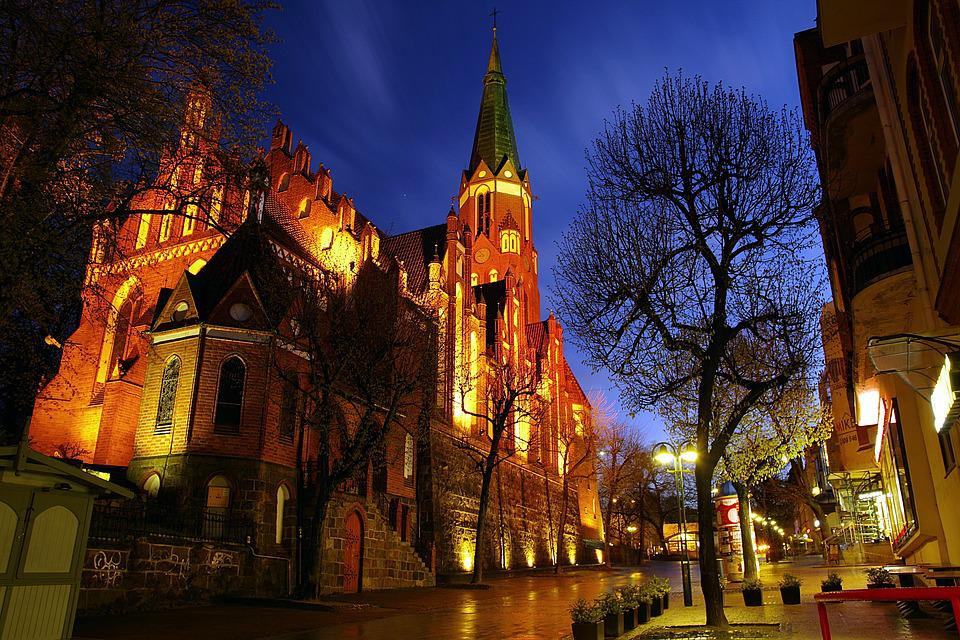Church Night Lit The Gothic Sopot Street Shops