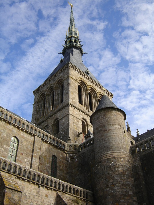 Church, Steeple, Spire, Le Mont Saint Michel, Normandy