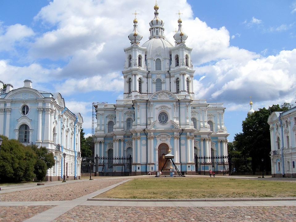 Russia, St Petersburg, Church, Resurrection, Smolny