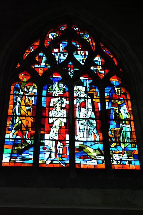 Stained Glass, Stained Glass Windows, Church, Catholic