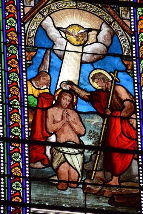 Stained Glass, Window, Church, Baptism, Jesus