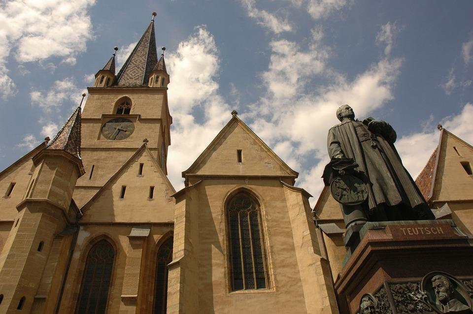 Sibiu, Church, Statue, Teutsch, Architecture, Building