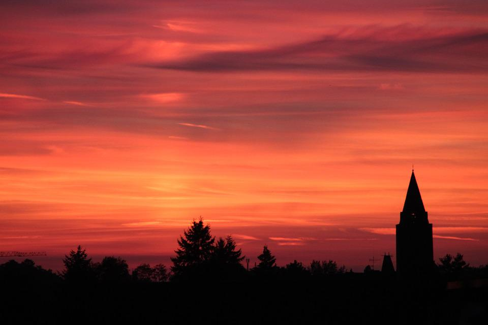 Sunset, Hanau, Church, Steeple, Sun, Abendstimmung