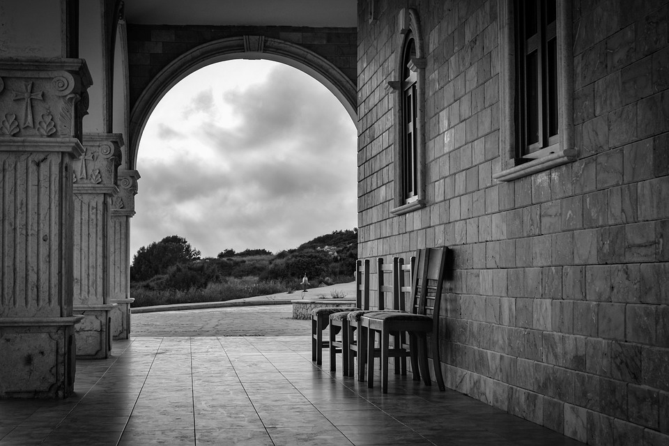 Church, Architecture, Arch, Chairs, Stoa, Light