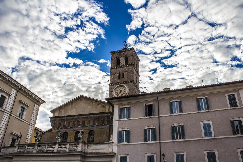 Sky, Clouds, Tower, Buildings, Rome, Church