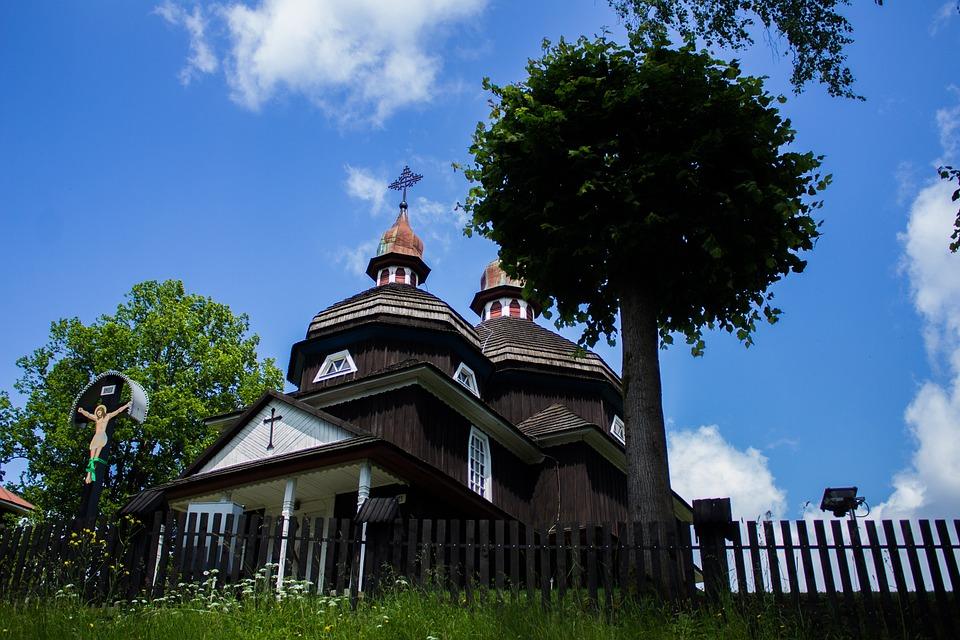 Wooden Church, Church, Tower, Cross, Wooden Roof