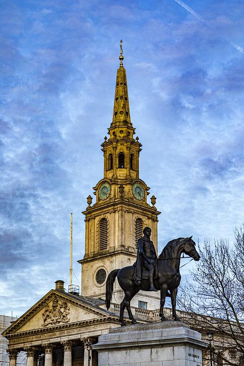 Statue, Sculpture, Church, Trafalgar Square