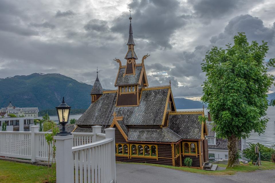 Church, Tree, Landscape, Clouds, Architecture, Building