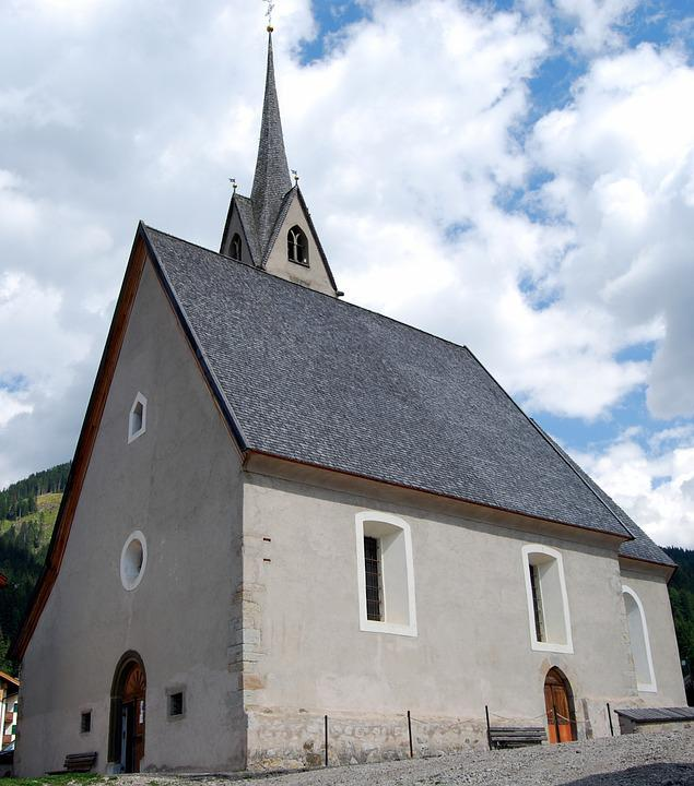 Church, Puddle Of Fassa, Italy, Trentino, Campanile