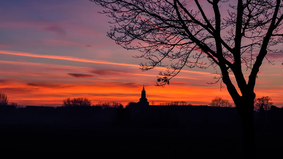 Dusk, Winter Evening, Church, Village, Sunset, Steeple