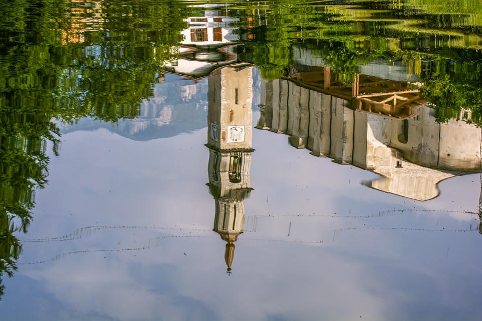 Lake, Water, Reflection, Church, Sky Water, Italy
