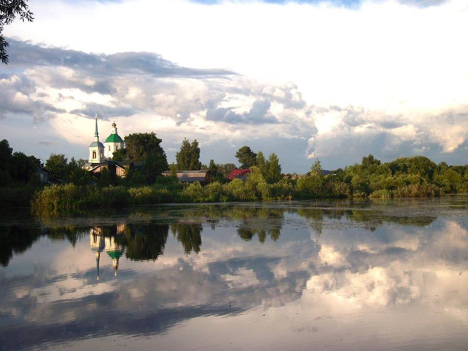 Russia, Lake, Water, Reflections, Village, Church