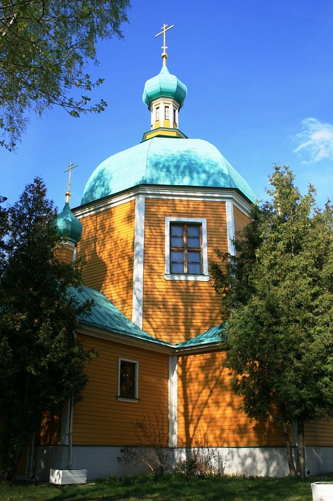 Church, Wooden, Yellow Walls, Turquoise, Roof Dome