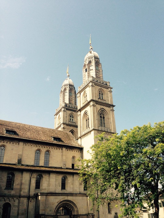 Zurich, Church, Grossmünster, Sky, Switzerland