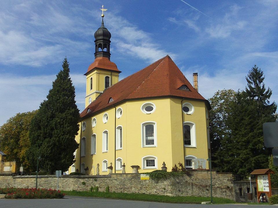 Church, Churches, Building, Village, Large Schönau