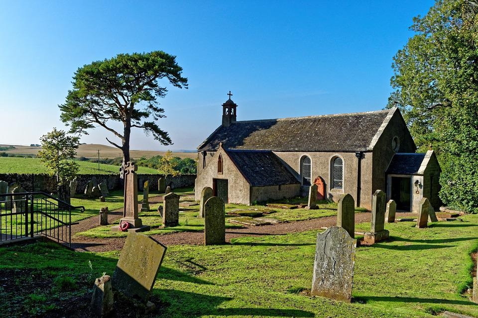 Church, Churchyard, Gravestones, Blue Sky, Trees, Grass