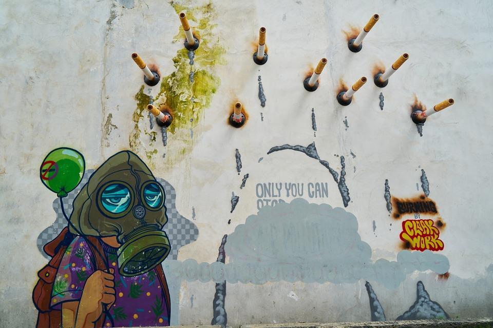 Graffiti, Cigarette, Dependency, Art, Artist, Mask