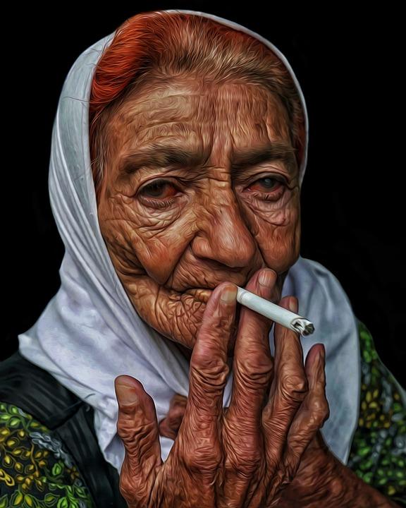 Woman, Cigarette, Smoking, Portrait