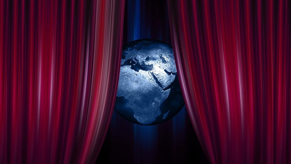 Globe, Earth, World, Curtain, Theater, Cinema