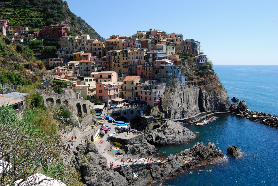 Cinque Terre, Manarola, Houses, Sea, Mountain, Liguria