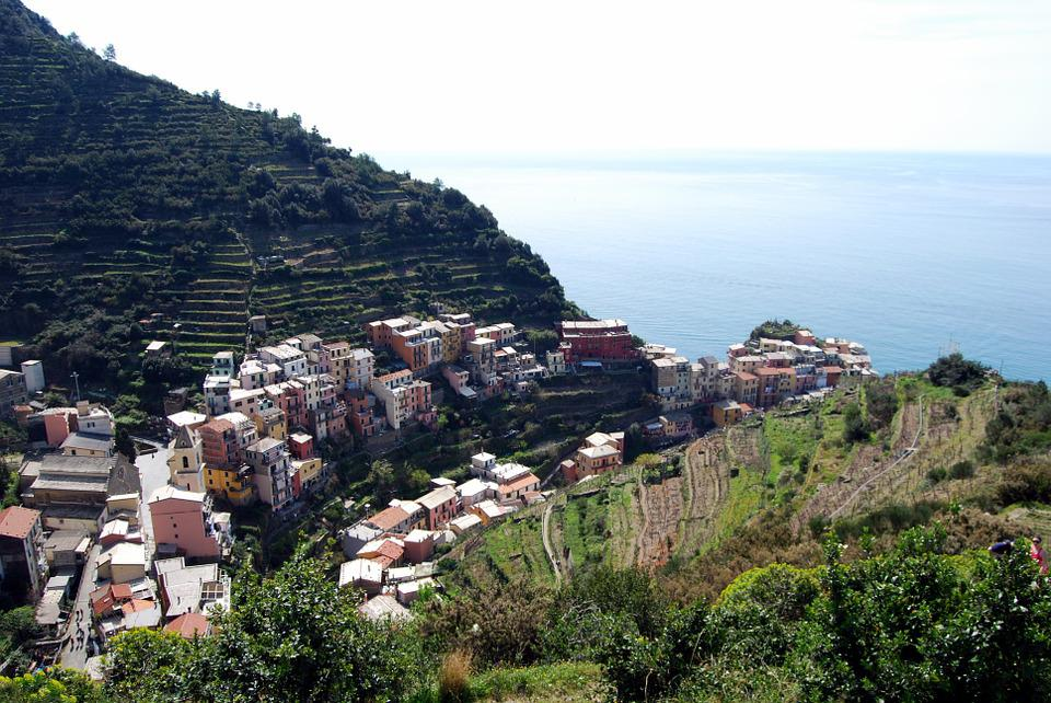 Cinque Terre, Liguria, Houses, Sea, Mountain, Green