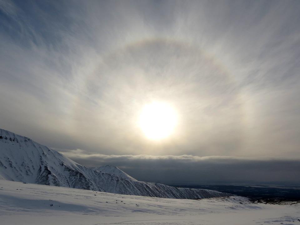 Halo, Sun, Circle, Atmosphere, Rays, Mountains, Nature