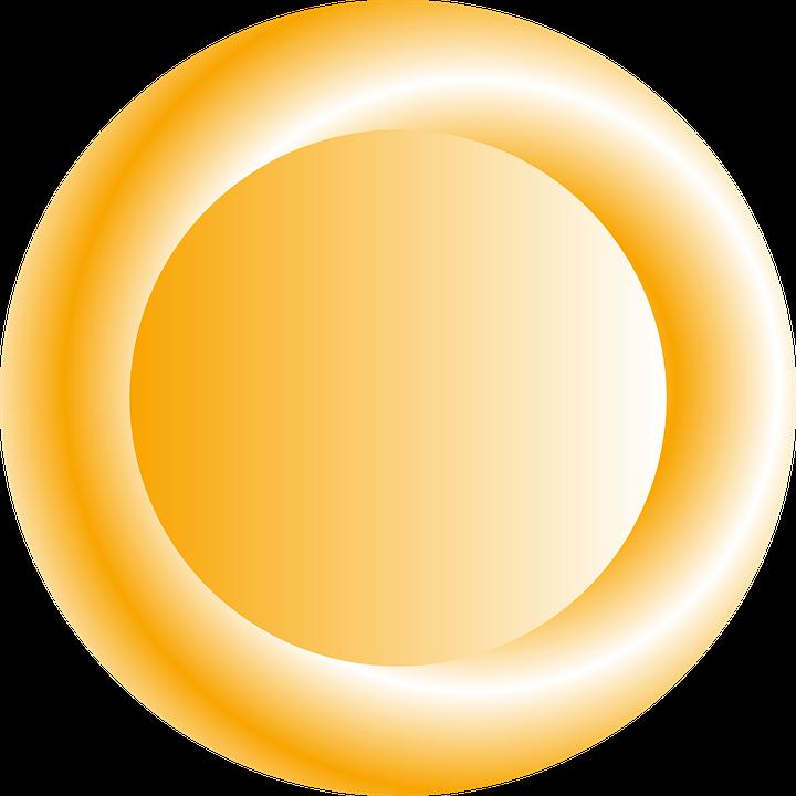 Button, Orange, Circular