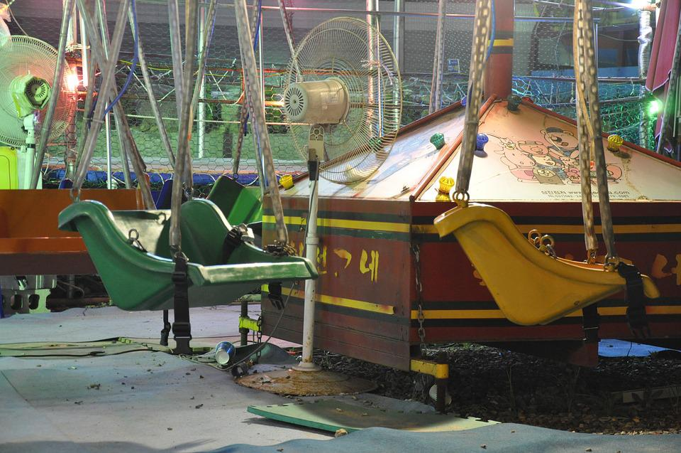Swings, Children, Circus, Old, Sad