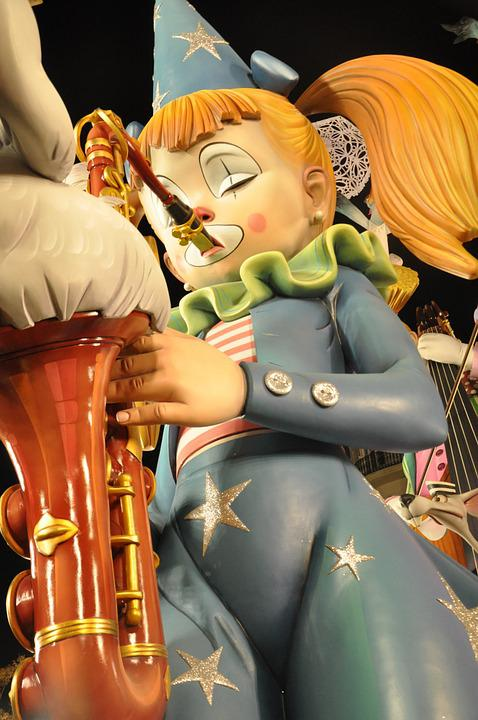 Saxophone, Fallas, Sculpture, Woman, Girl, Circus, Saxo