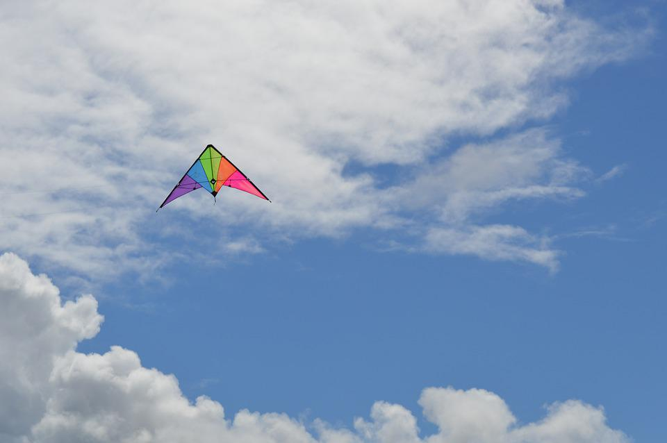 Kite, Up, Clouds, Cirrus, Colourful, Rainbow, Sky