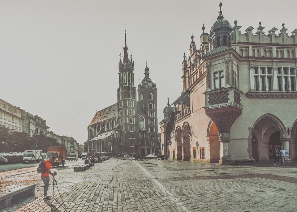 Krakow, Town, Square, City, Architecture, Europe