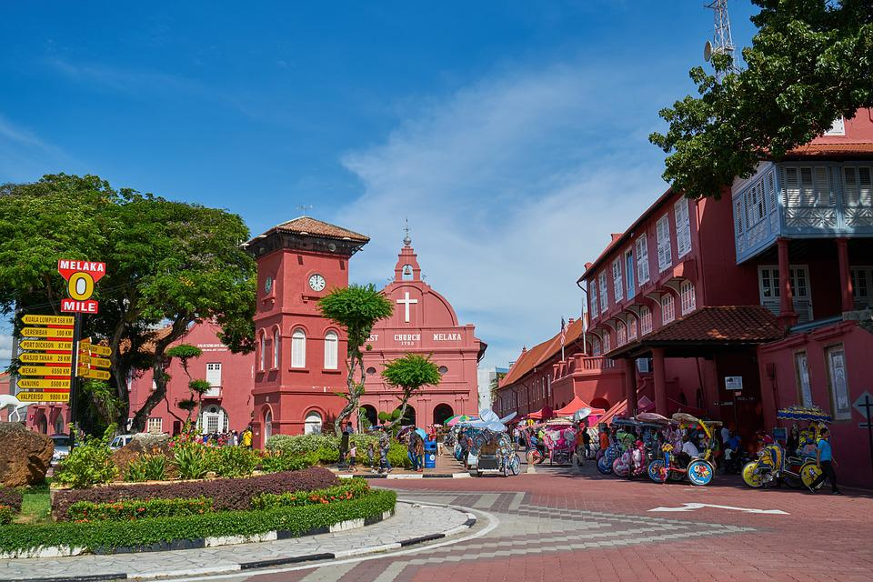 Church, Red, Malaysia, City, Culture, Architecture